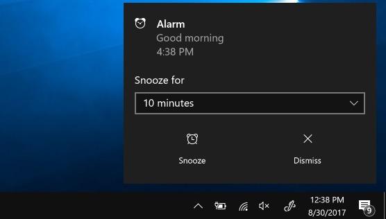 Windows 10-Alarmtimer reagieren auf Alarm