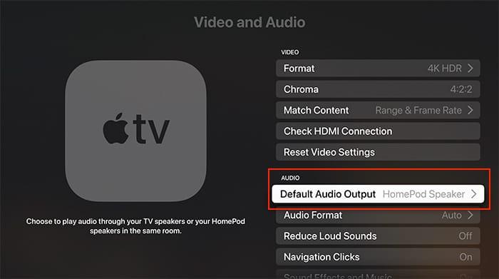 Einrichten von Heimkino-Audio Apple Tv Homepod Standard-Audioausgangsfernseher