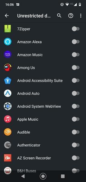 Beenden Sie Apps mit mobilen Daten Android Uneingeschränkte Daten