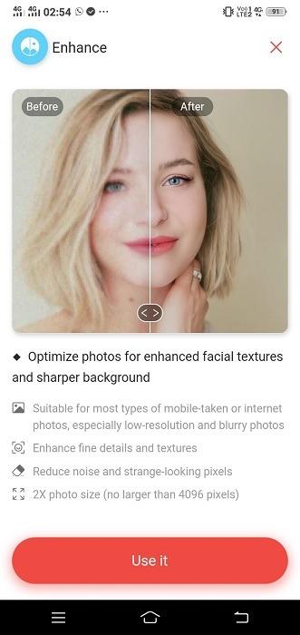 Verschwommenes Android Pic Remini Homescreen verbessern