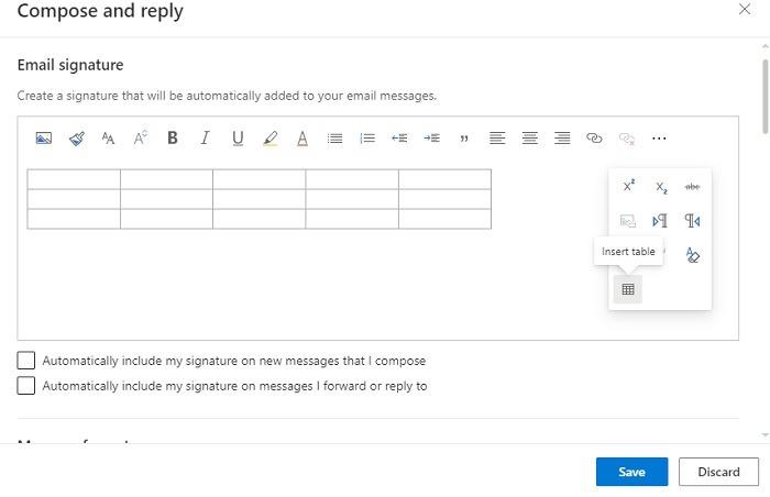 Outlook-Signaturtabelle