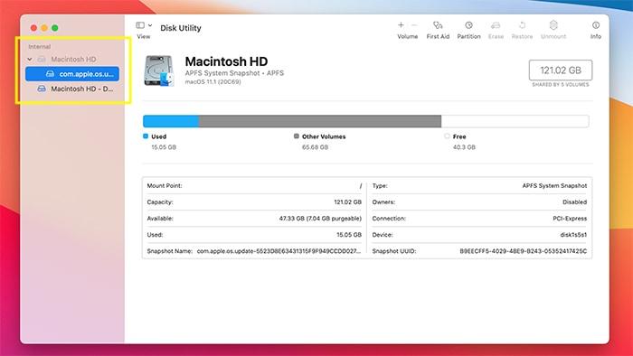 Festplattenberechtigungen Macos, die Festplatte auswählen