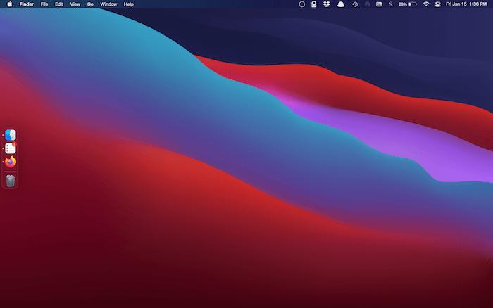 Ein minimales macOS Dock.