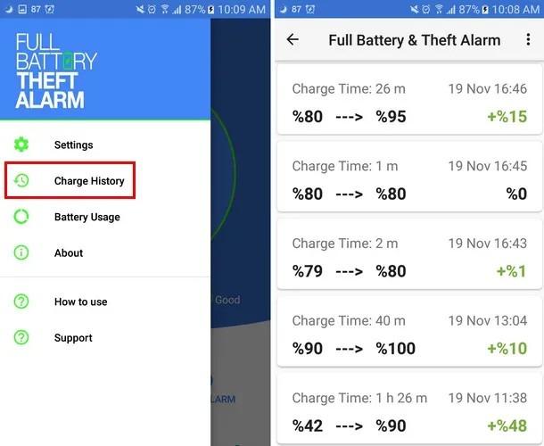Beste Benachrichtigungs-Apps für vollen Akku Alarmverlauf bei vollem Batteriediebstahl
