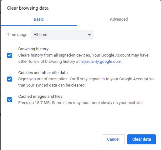 Fix Err Connection Zurücksetzen des Chrome Clear Cache