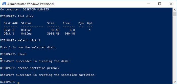 Formatieren von USB-Laufwerken in Win10 Diskpart Partition erstellen