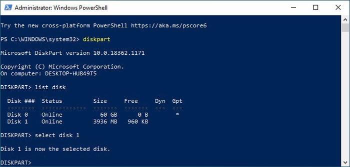 Formatieren von USB-Laufwerken in Win10 Diskpart Wählen Sie Disk