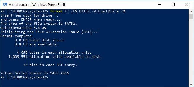 Formatieren Sie USB-Laufwerke im guten alten Format von Win10