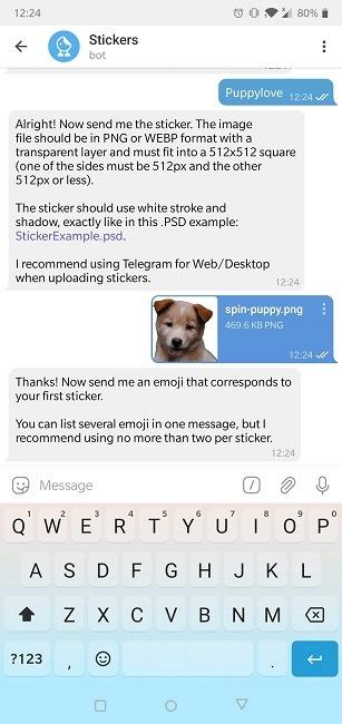 So erstellen Sie Aufkleber Telegramm Neuer Aufkleber Ok