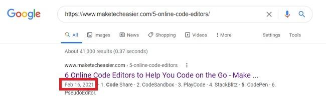 So finden Sie heraus, wann eine Webseite veröffentlicht wurde Google