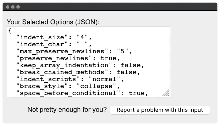 JSON-formatierte Optionen.