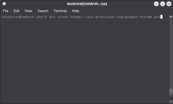 Verwenden Sie Aur In Arch Git Clone Chrome