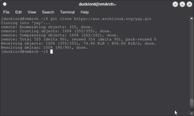 Verwenden Sie Aur In Arch Git Clone Yay