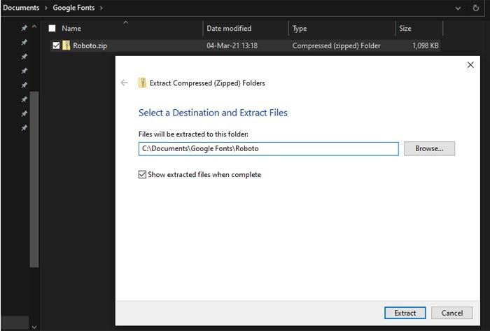 Dateien extrahieren