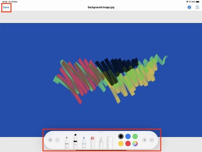 Markup Ipad Bearbeitung und Bild