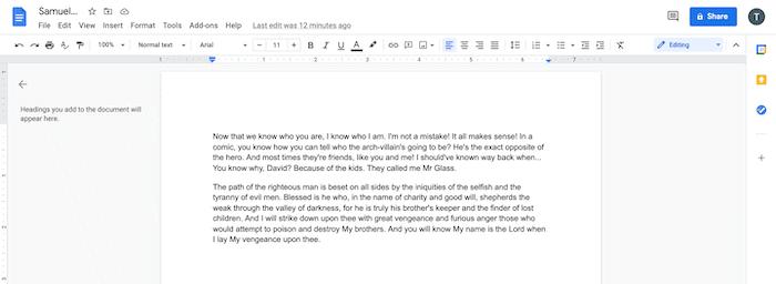 Zwei Absätze in Google Text & Tabellen.