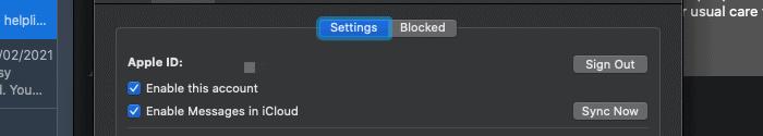 Abmelden von iMessage in macOS.
