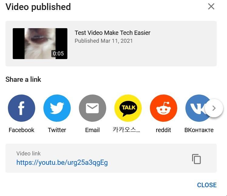 Hochladen von Youtube Video Share
