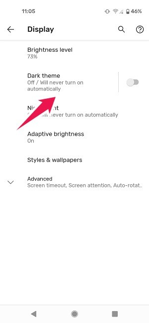 So planen Sie den dunklen Modus Android Pixel Settings Dark Theme