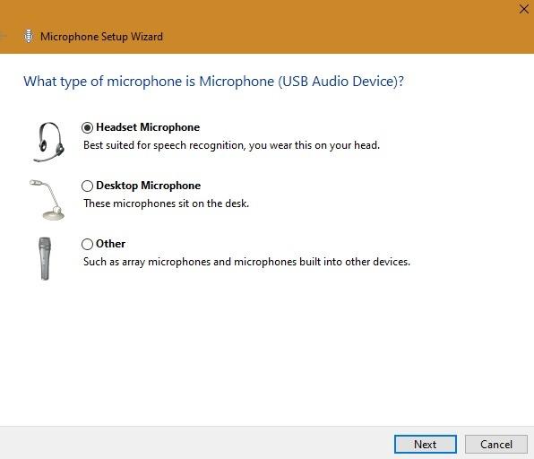 Fenster für externes Mikrofon Mikrofontyp auswählen