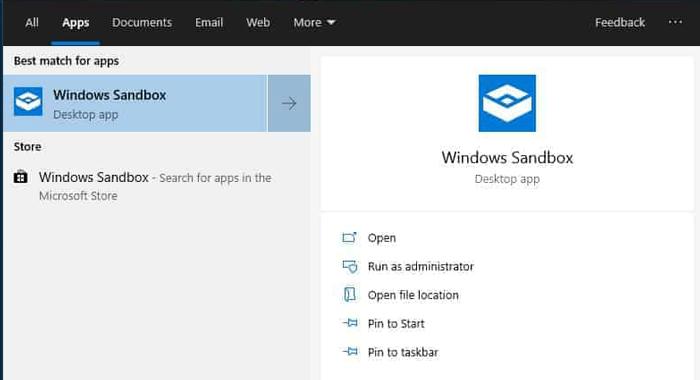 Beste Sandbox-Apps Windows 10 Startmenü