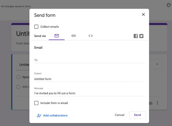 Die Optionen zum Senden von Formularen.