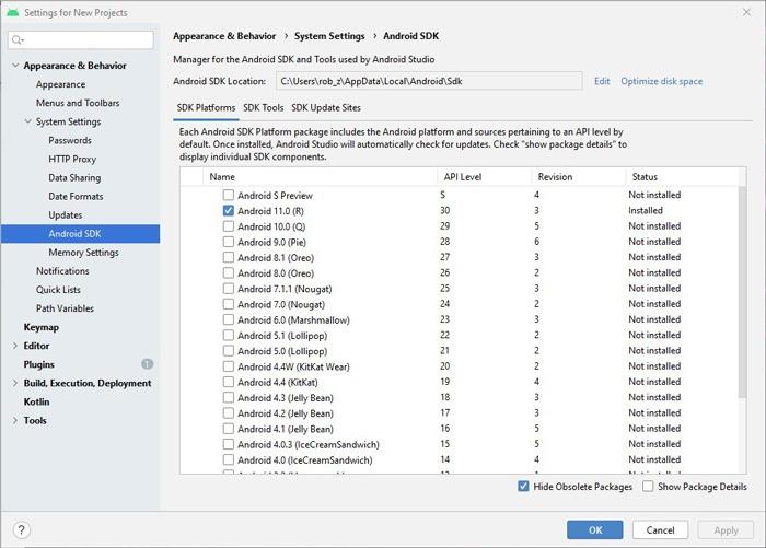 Installieren Sie den Android Studio SDK-Manager