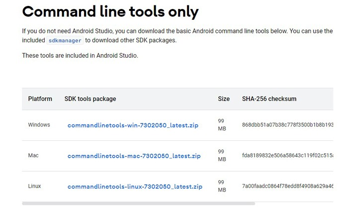 Installieren Sie Android Studio Sdk nur für die Windows 10-Befehlszeilentools