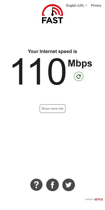Apps zum Testen der Internetgeschwindigkeit Fast.com