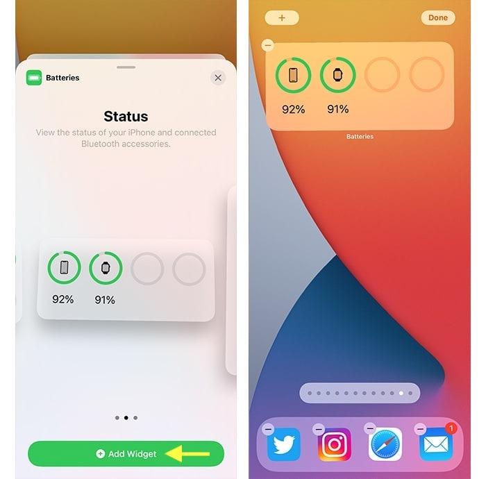 Iphone 12 Akku-Widget für Akku in Prozent hinzugefügt