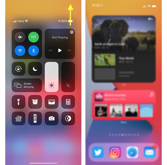 Iphone 12 Kontrollzentrum für Batterieprozentsatz geöffnet