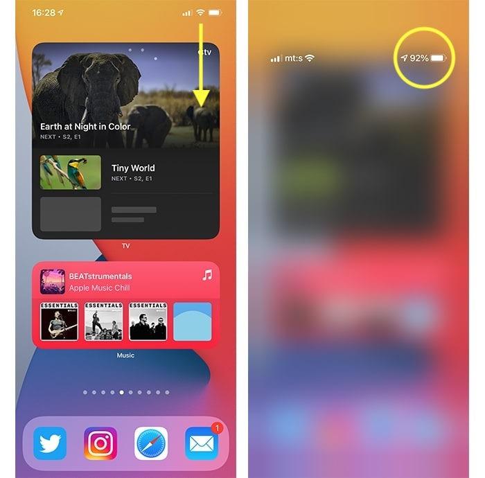 Iphone 12 Batterieprozentsatz Öffnen des Kontrollzentrums