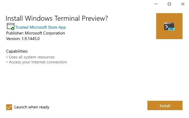 Windows-Terminal Github-App installieren