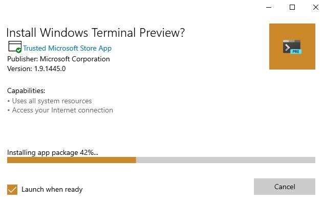 Windows-Terminal Installation der Github-App