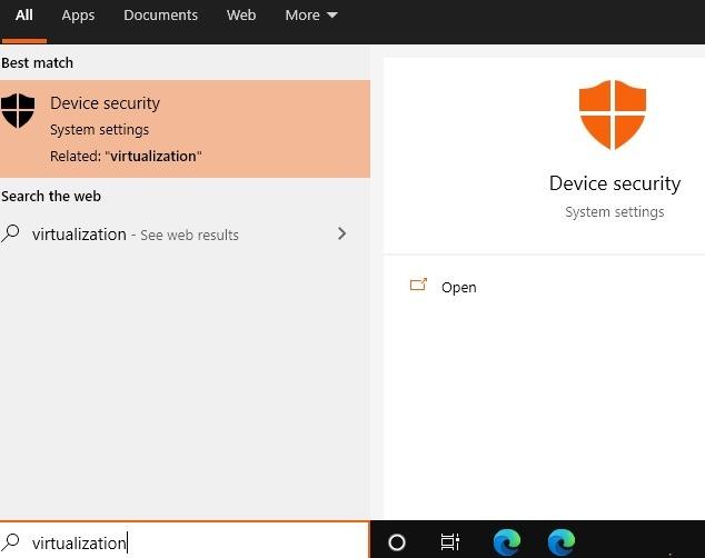 Windows11-Kompatibilität Gerätesicherheitsvirtualisierung