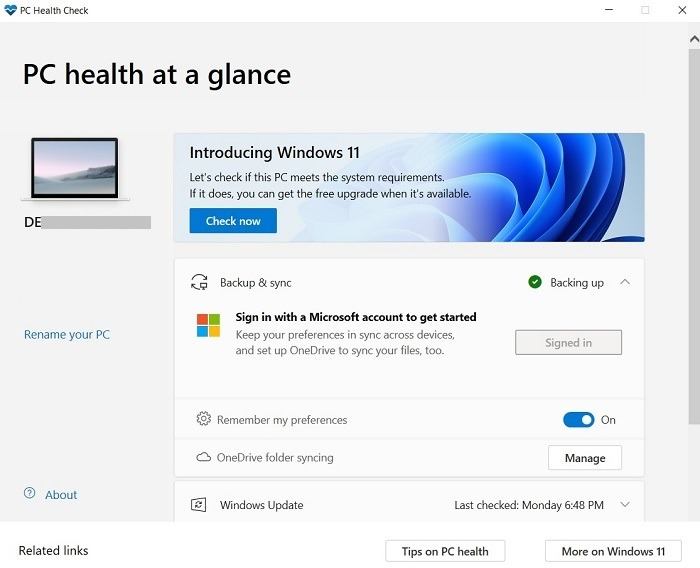 Windows11-Kompatibilitäts-PC-Zustandsprüfung