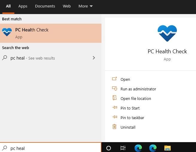 Windows11-Kompatibilitäts-PC-Gesundheitssuche