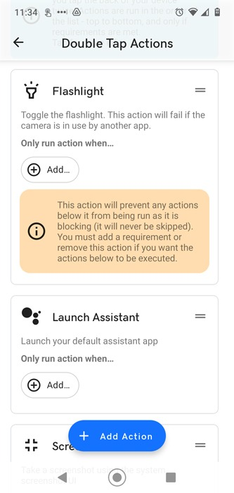 Schalten Sie die Taschenlampe ein Aus Android Tippen Sie auf Tippen Sie auf 1
