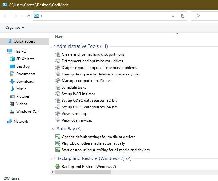 Windows 10 Easter Eggs und Geheimnisse, um den Gott-Modus zu finden