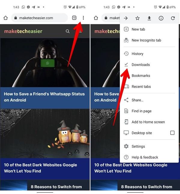 Android-Downloads Chrome löschen