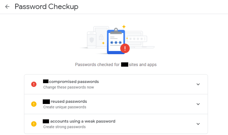 Ergebnis der Passwortüberprüfung bei Chrome-Passwortverletzung 1