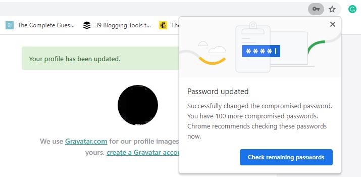 Verbleibende Überprüfung auf Chrome-Passwortverletzungen