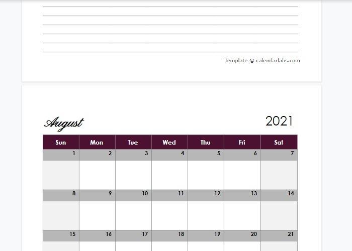 Google Docs-Vorlage Kalender Calendarlabs