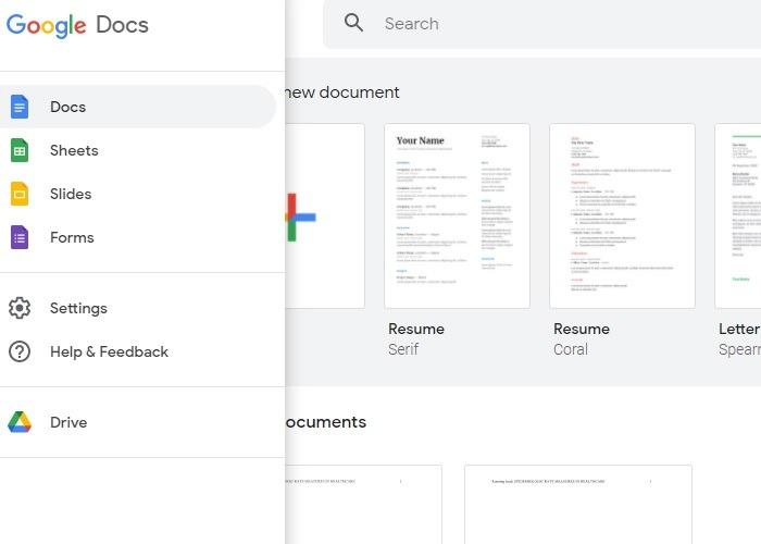 Startbildschirm der Google Docs-Vorlage