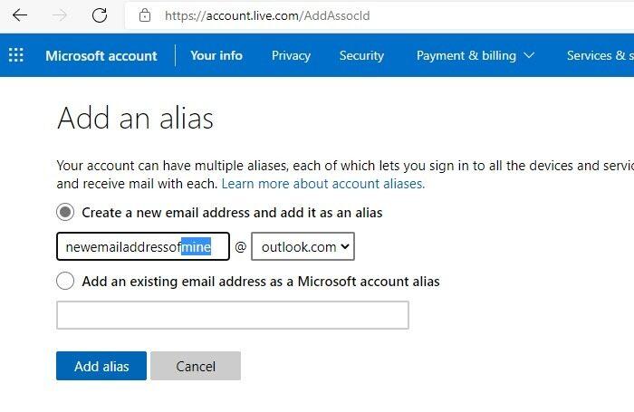 Hotmail Outlook umbenennen Neuen E-Mail-Alias hinzufügen