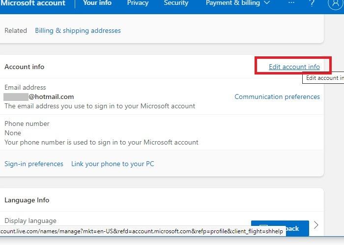 Hotmail Outlook umbenennen Kontoinformationen bearbeiten