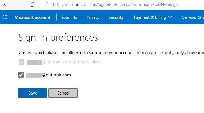 Hotmail Outlook-Anmeldeeinstellungen umbenennen