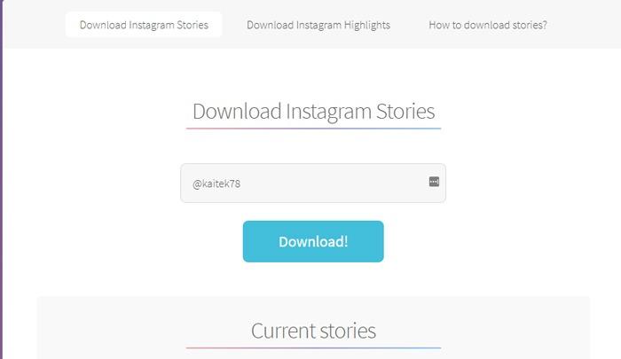 Laden Sie die Instagram Stories-Website herunter