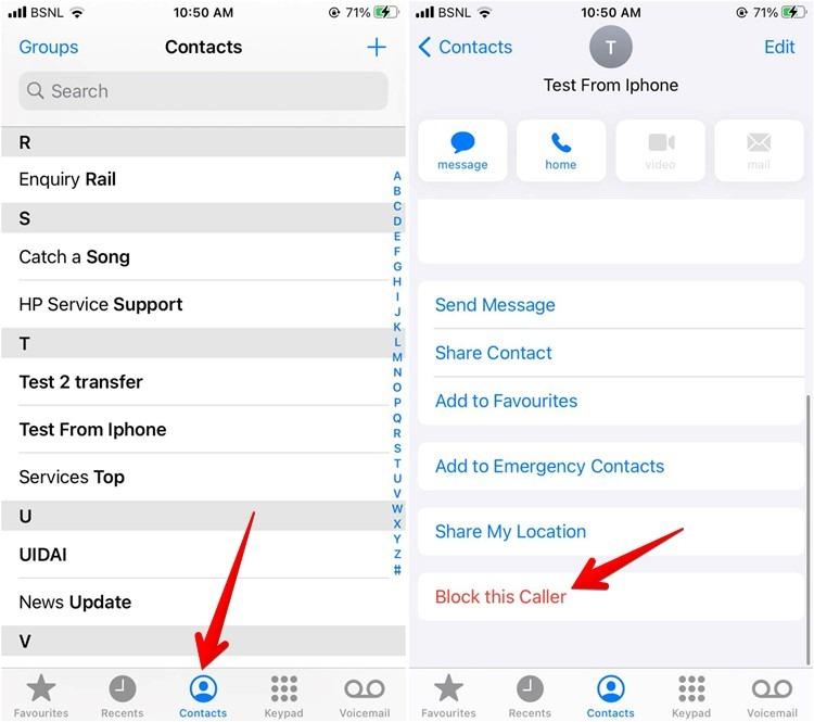 Iphone-Telefon-App-Kontakte blockieren