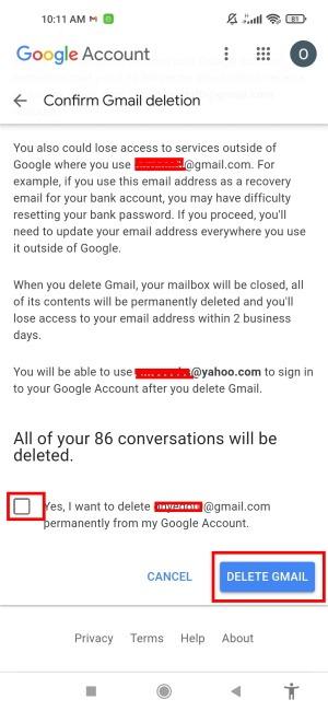 Gmail löschen Tippen Sie auf Gmail löschen